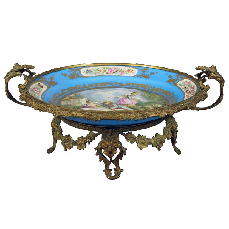 Antique Sevres Hand Painted and Gilt Pictorial Porcelain and Ormolu Charger For Sale