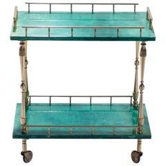 Small Aldo Tura Goatskin Parchment Bar Cart, 1950s