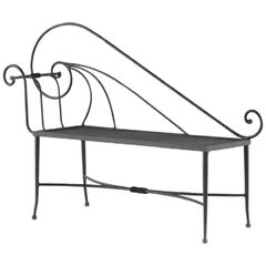 New Black Wrought Iron Bench or Chaise with One Arm and Back