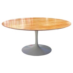 Rare Midcentury Round Tulip Table with Wooden Top by Knoll and Saarinen