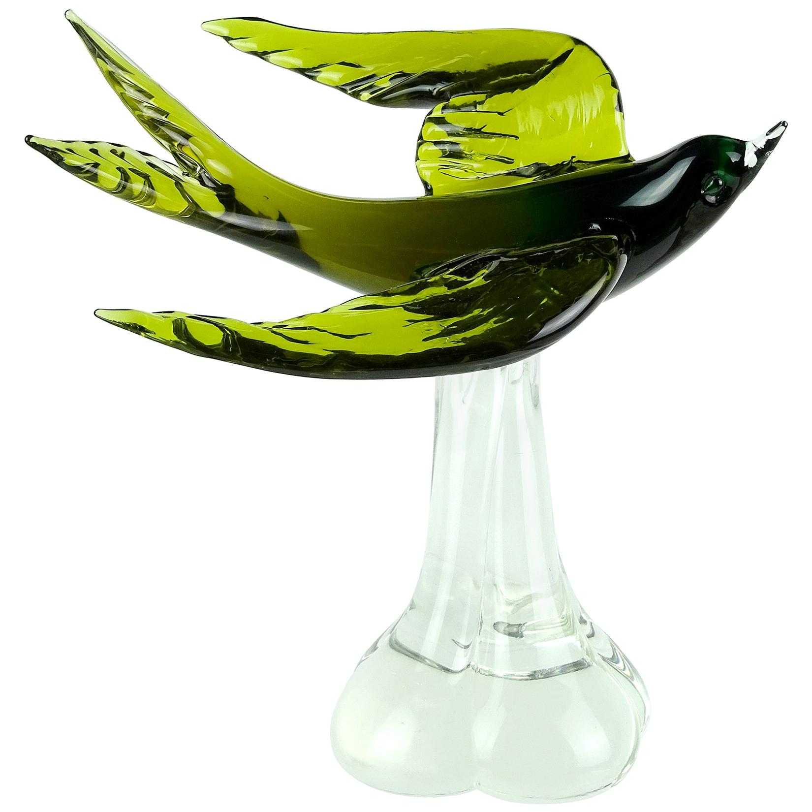Murano Sommerso Green Italian Art Glass Flying Swallow Bird Sculpture on Base