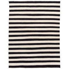 Contemporary Black and White Striped Kilim Flat-Weave Wool Rug