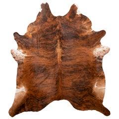 Transitional Medium Brindle Large Brown and Black Cowhide Rug