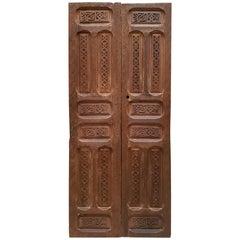 Double Panel Moroccan Wooden Door, Brown 23MD40