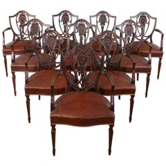 Set of 10 Antique English Victorian Hepplewhite Design Carver Dining Chairs