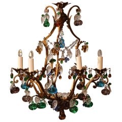 Early 20th Century French Metal and Crystal Fruit and Leaf Six-Light Chandelier