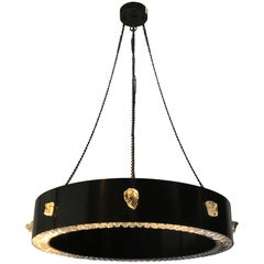 Rock Crystal and Oil Rubbed Bronze Chandelier