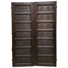 Double Panel Moroccan Wooden Door, Dark Brown 23MD41