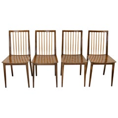 Mid-Century Modern Brown Beech Vintage Dining Chairs Oskar Payer Attributed