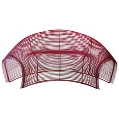Modern Powder Coat Hot Pink Indoor Outdoor Curved Wire Sofa Paralounger