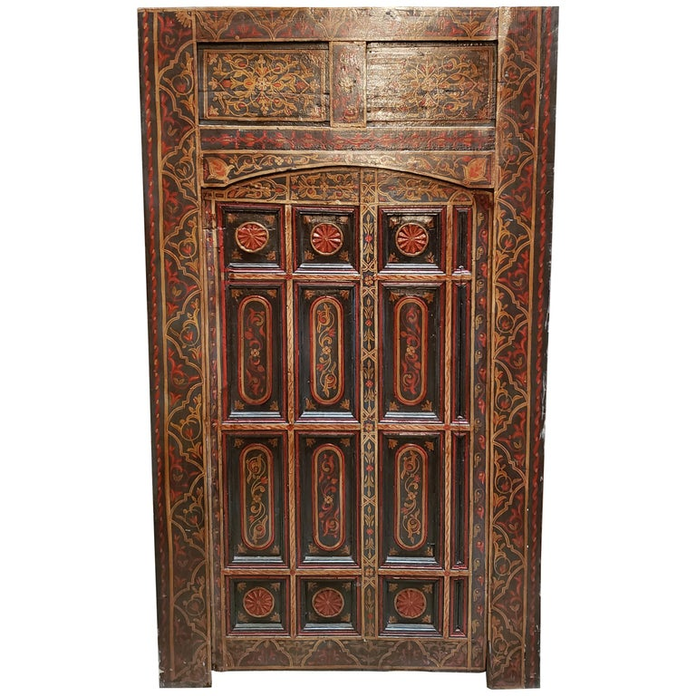 Old Multi-Color Moroccan Wooden Door, 23MD42 For Sale