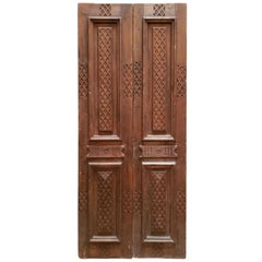 Double Panel Moroccan Wooden Door, Light Brown 23MD43