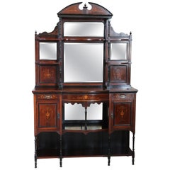 20th Century English Inlaid Rosewood Cabinet with Mirror