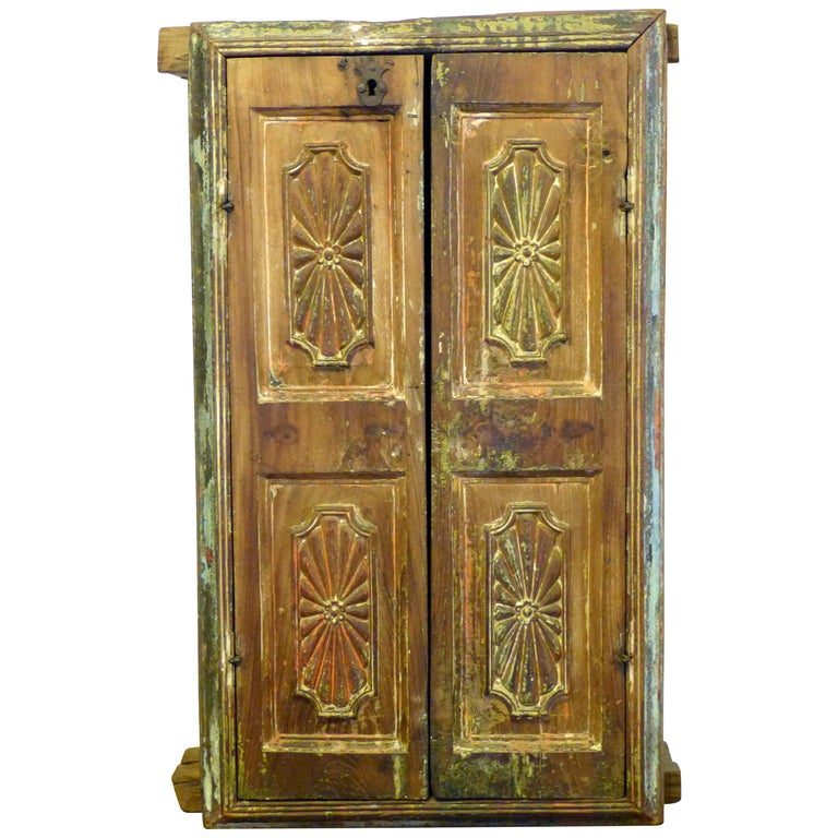 Antique Mexican Colonial Wood Wall Cabinet 18th Century ...