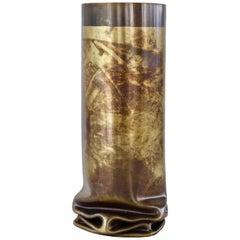"Dal Furlo ""Hot Brass"" Small Cylindrical Modern Brass Vase"