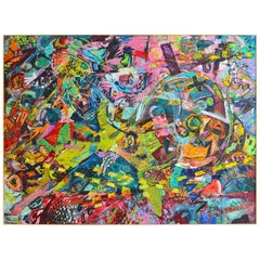 Large Abstract Expressionist Oil on Canvas by Chuck Dugan, (1947-2007)