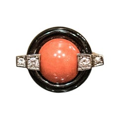 Art Deco French Light Coral ,Onyx ,Diamonds and Gold Ring, 1930