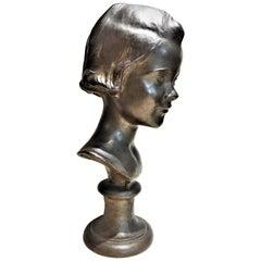 Mabel Conkling, Natalie, American Art Deco Patinated Bronze Portrait Bust, 1920s