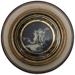 Ancient Round Box in Bone, Turtle and Gold with Mythological Scene, circa 1805