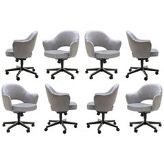 Saarinen Executive Armchairs in Sterling Weave, Swivel Base, Set of Twelve