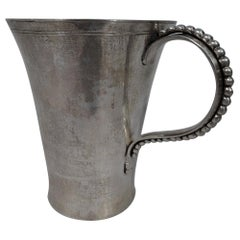 Tall and Heavy South American Silver Mug with Beaded Handle