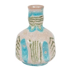 Signed Midcentury Handcrafted Green and Turquoise Ceramic Vase by Guido Gambone