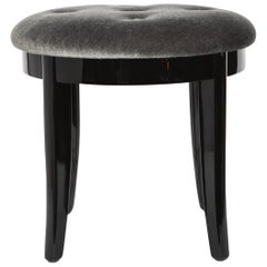 Elegant Art Deco Vanity Stool in Black Lacquer and Grey Mohair