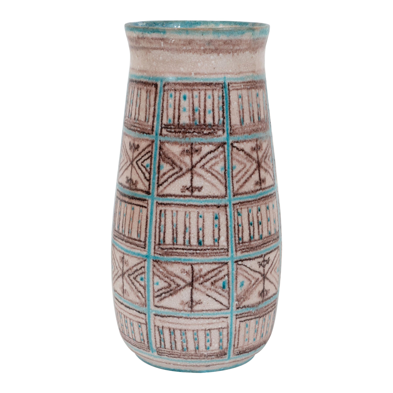 Signed Guido Gambone Mid-Century Modern Hand Painted Ceramic Vase