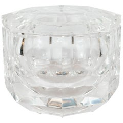 Midcentury Faceted Swivel Top Lucite Octagon Ice Bucket by Carole Stupell