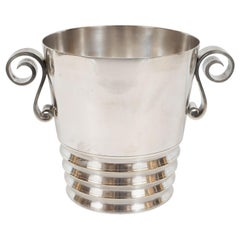 Art Deco French Silver Plated Ice Bucket with Scroll Handles