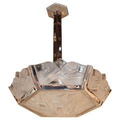 Signed Art Deco Cubist Frosted Glass and Nickeled Bronze Chandelier by Degué