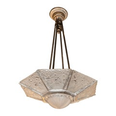 Art Deco Cubist Silvered Bronze and Frosted Glass Chandelier by Georges Leleu