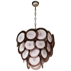 Modernist Amethyst Handblown Murano Glass Disc Chandelier with Chrome Fittings