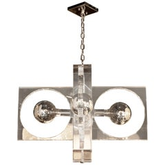 Mid-Century Modern Rectilinear Lucite and Chrome Chandelier