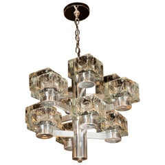Mid-Century Modern Twelve Cube Glass Chandelier with Chrome Fittings by Sciolari