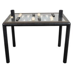 Signed Karl Springer Midcentury Backgammon Table in Brass and Embossed Leather