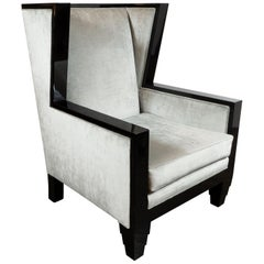 Art Deco Revival Black Lacquer & Platinum Velvet High Back Chair by Noel Jeffrey
