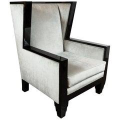 Art Deco Revival Black Lacquer & Platinum Velvet High Back Chair by Noel Jeffrey
