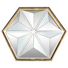Mid-Century Modern Sculptural Hexagonal Brass Mirror with Raised Pyramidal Forms