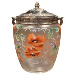 Early 20th Century Silver Plated and Painted Frosted Glass Candy Jar with Lid