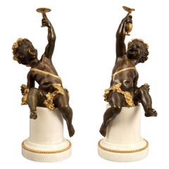 Pair of French 19th Century Louis XVI St. Bronze, Ormolu and Marble Statues
