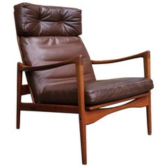 Swedish High Back Brown Leather Teak Easy Chair by Ib Kofod-Larsen for OPE 1960s