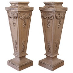 Pair of Painted Rose Swag Columns Plant Stand Pedestals