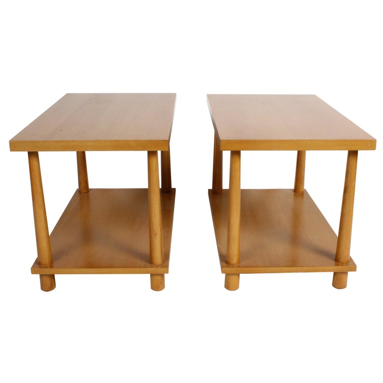 Pair of T.H. Robsjohn-Gibbings for Widdicomb Reverse Tapered Legs End Tables For Sale