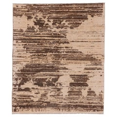 Brown Abstract Contemporary Rug, Hand Knotted