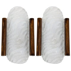 Pair of Midcentury Murano Glass Sconces with Wood Trim by Kalmar