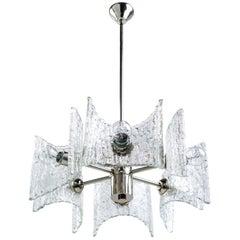 Mid-Century Modern Starburst Chandelier with Ice Glass Design by Kalmar