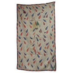 Antique Quilted Indian Paisley Wedding Ceremonial Colorful Blanket