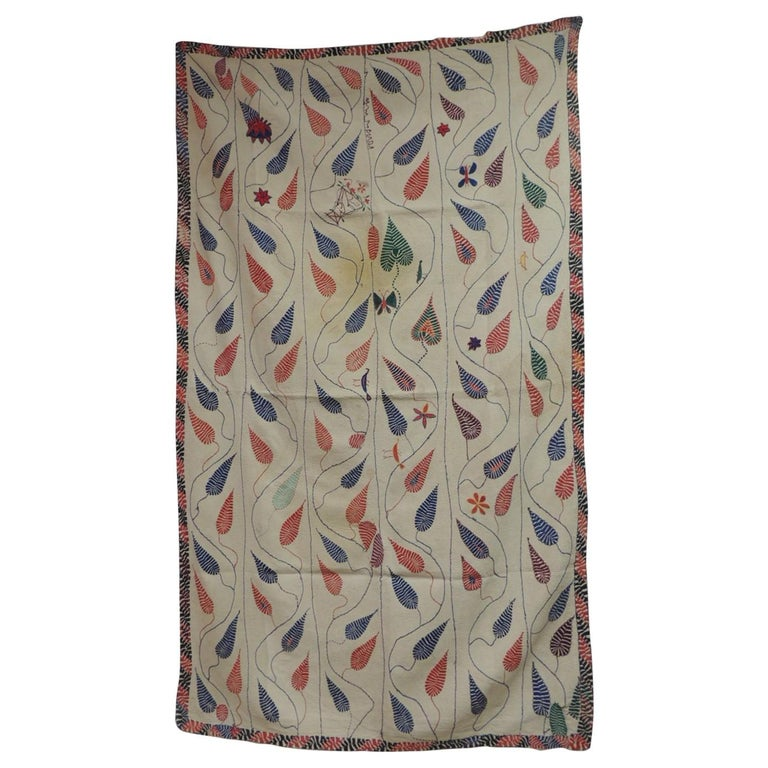 Antique Quilted Indian Paisley Wedding Ceremonial Colorful Blanket For Sale