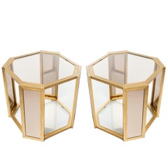 Pair of Hollywood Regency End Tables in Brass and Smoked Glass